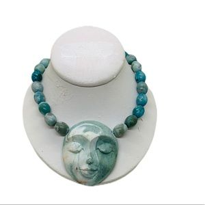 Jewelry - Turquoise clay face necklace